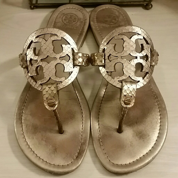 5c10296d0 Rose Gold Tory Burch Leather Miller Sandals. M 5afced17caab4444649b2840